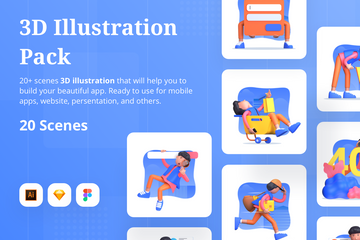 3D Character With Different Scene Illustration Pack