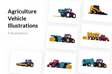 Agriculture Vehicle Illustration Pack