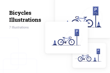 Bicycles Parking Stand Illustration Pack