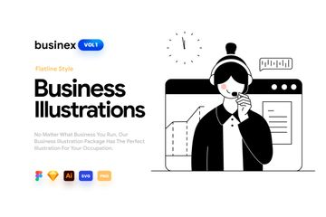 Businex Flatline Illustration Pack