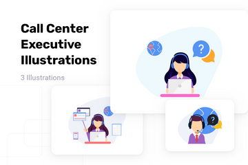 Call Center Executive Illustration Pack