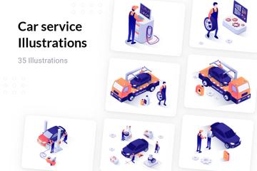 Car Service Illustration Pack