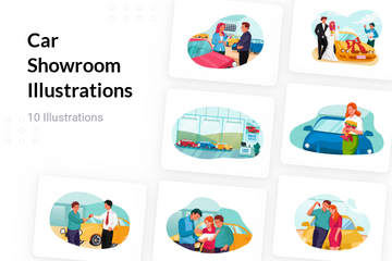 Car Showroom Illustration Pack