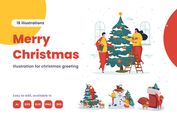 Christmas Day Greeting Illustration Pack