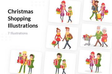 Christmas Shopping Illustration Pack