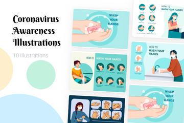 Coronavirus Awareness Illustration Pack