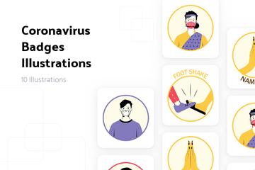 Coronavirus Badges Illustration Pack