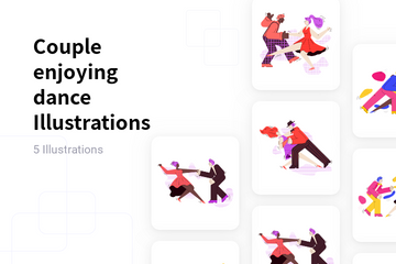 Couple Enjoying Dance Illustration Pack