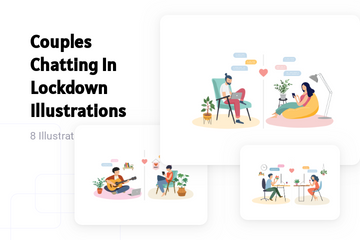 Couples Chatting In Lockdown Illustration Pack