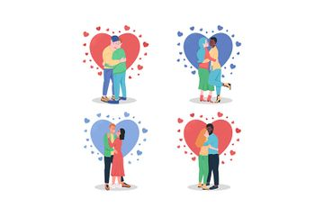 Hugging Couples In Love Illustration Pack