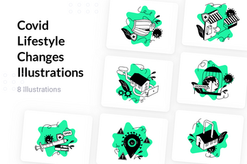 Covid Lifestyle Changes Illustration Pack