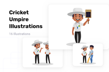 Cricket Umpire Illustration Pack