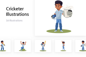Cricketer Illustration Pack