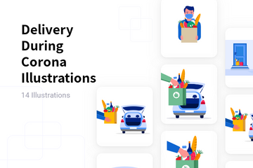 Delivery During Corona Illustration Pack