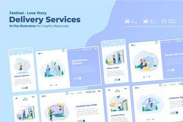 Delivery Service Illustration Pack