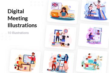 Digital Meeting Illustration Pack