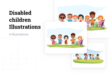 Disabled Children Illustration Pack