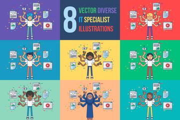 Diverse IT Specialist Illustration Pack