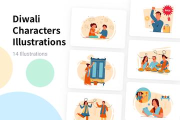 Diwali Characters Illustration Pack