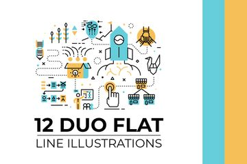 Duo Flat Line Illustrations V.1 Illustration Pack