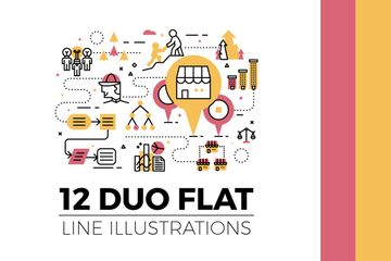 Duo Flat Line Illustrations V.2 Illustration Pack