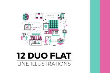Duo Flat Line Illustrations V.3 Illustration Pack