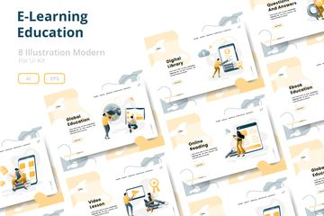 E-Learning Education Illustration Illustration Pack