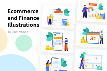 Ecommerce And Finance Illustration Pack