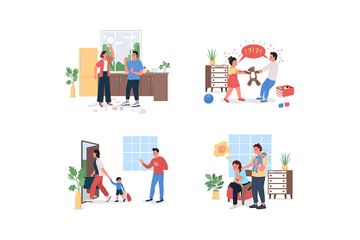 Family With Relationship Problems Illustration Pack