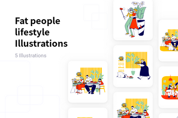 Fat People Lifestyle Illustration Pack
