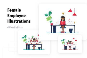 Female Employee Illustration Pack