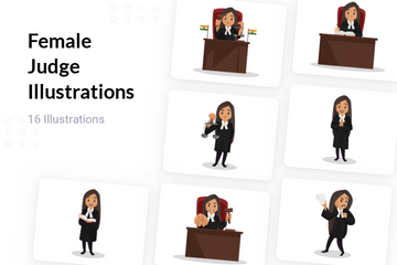 Female Judge Illustration Pack