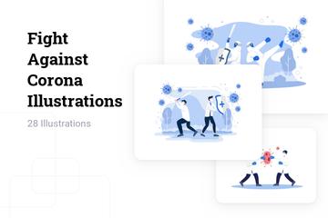 Fight Against Corona Illustration Pack