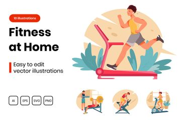 Fitness At Home Illustration Pack