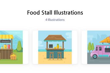 Food Stall Illustration Pack