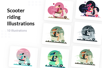 Girl Riding Scooter Illustration Pack