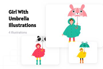 Girl With Umbrella Illustration Pack