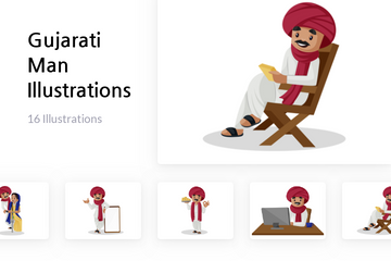 Gujarati Man Illustration Pack
