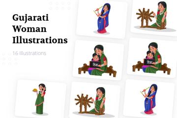 Gujarati Woman Illustration Pack