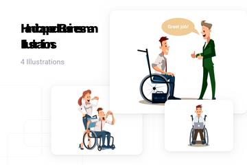 Handicapped Businessman Illustration Pack