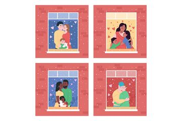 Happy Family In Home Window Illustration Pack