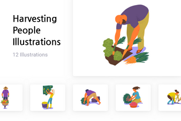Harvesting People Illustration Pack