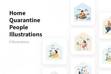 Home Quarantine People Illustration Pack