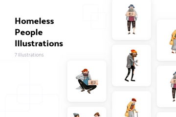 Homeless People Illustration Pack
