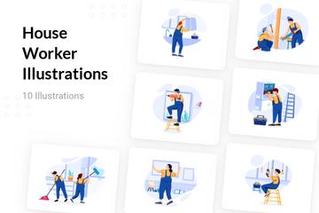 House Worker Illustration Pack