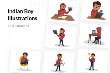 Indian Boy Illustration Pack