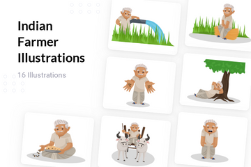 Indian Farmer Illustration Pack