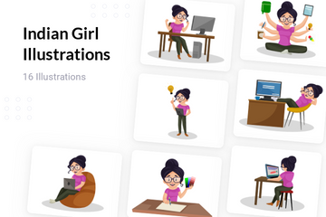 Indian Girl Illustration Pack