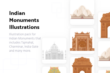 Indian Monuments Illustration Pack