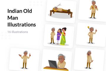 Indian Old Man Illustration Pack